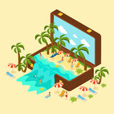 Isometric Beach Vacation Concept. With relaxing people palm trees chaise lounges and sea in traveling bag vector illustration Royalty Free Stock Photography