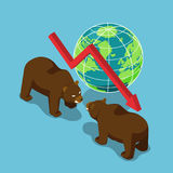 Isometric bears fighting with world and falling graph. Flat 3d isometric bears fighting with world and falling graph. Bearish stock market and financial concept Royalty Free Stock Photo