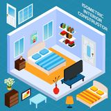 Isometric Bedroom Interior. Isometric bedroom blue walls interior with 3d furniture icons set vector illustration Stock Image