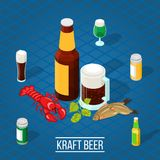 Isometric Beer Background. 3d bottles and glasses with dark and lager beer and salty snacks on blue background isometric vector illustration Vector Illustration