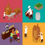 Isometric Beer Production. Brewery Indoors with Workers, Drinking Elements and Pub. Vector flat 3d illustration Stock Images