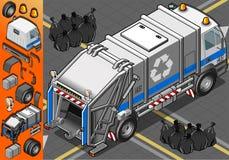 Isometric Biała Śmieciarska ciężarówka w Tylni widoku Zdjęcie Stock