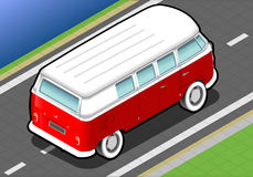 Isometric Bicolor Van in Rear View Royalty Free Stock Photography