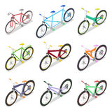 Isometric Bicycle Set with Mountain Bike and Tricycle. City Transport Stock Photo