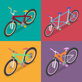 Isometric Bicycle Set with Mountane Bike and Tricycle. City Transport Royalty Free Stock Images