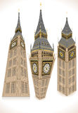 Isometric Big Ben Tower in three positions Royalty Free Stock Photos