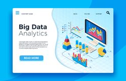 Isometric big data analytics. Analytical infographic statistic dashboard. 3d vector illustration. Isometric big data analytics. Analytical infographic statistic stock illustration