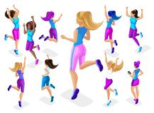 Isometric of a big girl athlete against a background of small, fitness jumping, running around, front and back view, colorful clot royalty free illustration