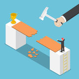 Isometric big hand destroy way to success of businessman Stock Image