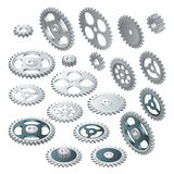 Isometric big set of a Gear wheels. Vector futuristic technology. Illustration hi-tech, engineering, digital telecoms Stock Photos