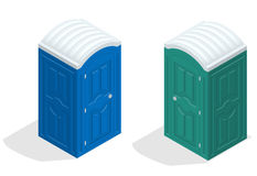Isometric bio toilet cabin. Blue and green. Hiking services. Flat color style vector icon Stock Photos