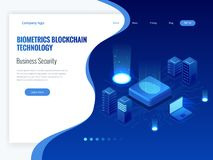 Isometric Biometrics Blockchain Technology and Finger Print Scanning Identification System. Biometric Authorization and. Business Security Concept. Vector Royalty Free Stock Photo