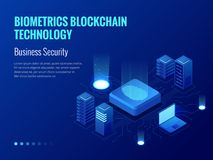 Isometric Biometrics Blockchain Technology and Finger Print Scanning Identification System. Biometric Authorization and. Business Security Concept. Vector Royalty Free Stock Photography