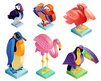 Isometric birds set. Unusual style. Isometric birds set. Flamingo and puffin, pelican and mandarin duck, penguin and toucan. Illustration art. Vector icons of Royalty Free Stock Photo