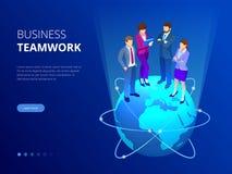 Isometric biznes drużyna, ludzie biznesu pojęć Sieć sztandar Ludzie biznesu stoją na światowej kuli ziemskiej nowe pomysły ilustracji