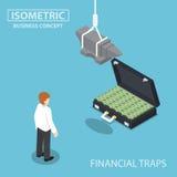 Isometric biznesmen patrzeje walizka pieniądze pełno Zdjęcie Stock