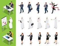 Isometric Biznesowe charakter pozy Set Businessmans, Businesswomans i arab, Obsługuje na białym tle kreskówka Fotografia Stock