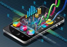 Isometric Biznesowy Infographic na telefonie komórkowym Zdjęcie Royalty Free