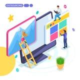 Isometric biznesowy pojęcie, outsourcing, daleka praca, freelancing, kolaboruje na jeden projekcie ilustracja wektor