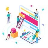 Isometric biznesowy pojęcie, outsourcing, freelancing, kolaboruje na jeden projekcie Młodzi przedsiębiorcy rozwijają uruchomienie ilustracja wektor