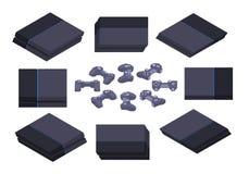 Isometric black nextgen gaming console Royalty Free Stock Photos