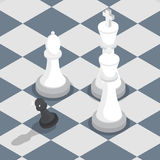 Isometric black pawn surrounded by white king queen bishop. Isometric black pawn surrounded by white king, queen, bishop on the chessboard, facing the challenge Stock Images