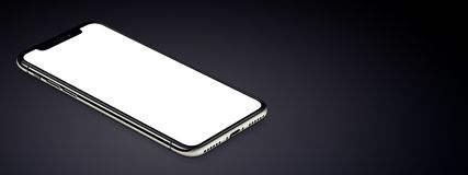 Isometric black smartphone similar to iPhone X mockup lies on dark surface banner with copy space. Isometric smartphone similar to iPhone X mockup lies dark royalty free stock images
