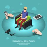 Gadgets For Blind Composition. Isometric blind people conceptual background with partially sighted male character and various accessibility gadgets with text Royalty Free Stock Photos
