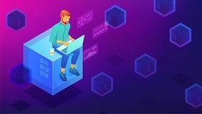 Isometric blockchain development concept. Stock Photo