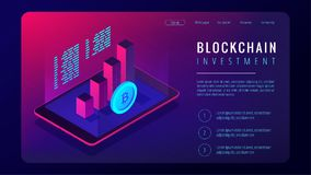 Isometric blockchain investment landing page concept. Tablet with 3d charts graphics of financial growth statistics and bitcoin in violet. Cryptocurrency Royalty Free Stock Photo