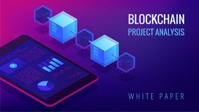 Isometric blockchain project analysis concept. Isometric blockchain project analysis and white paper landing page concept. Blockchain fintech, global Royalty Free Stock Image