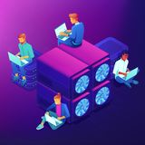 Blockchain and mining isometric concept. Royalty Free Stock Images