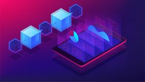 Isometric blockchain white paper and ICO analysis concept. ICO analysis framework, global cryptocurrency market illustration on ultra violet background. Vector Stock Image