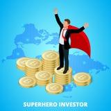 Isometric bohatera biznesmena inwestor na stercie bitcoin Obraz Royalty Free