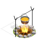 Isometric Bonfire Burning On Firewood In The Camp, Camping And Hiking Outdoor Tourism Related Item Isolated Vector. Illustration Royalty Free Stock Photo