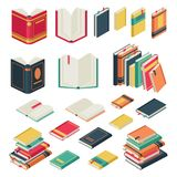 Isometric book collection. Opened and closed books set for school library publishing dictionary textbook magazine vector. Isometric book collection. Opened and royalty free illustration