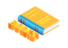 Isometric book icon. Education or bookstore illustration in flat design style Royalty Free Stock Photography