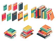 Isometric book set. Books school library publishing dictionary textbook magazine closed page for studying vector. Isometric book set. Books school library stock illustration