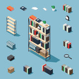 Isometric bookcase and elements. Bookcase vector isometric concept illustration. Decorated bookcase plus collection of isometric objects: stack of books Stock Images