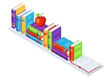 Isometric books on bookshelf. Education or bookstore illustration in flat design style Stock Photography