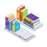 Isometric books on bookshelves. Education or bookstore illustration in flat design style Stock Image
