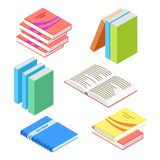 Isometric books and notepad isolated on white background royalty free illustration