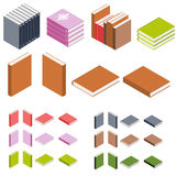 Isometric books. The stacks of books. Books of different colors. Education icon. 3D book logo. The library of knowledge. Vector illustration Royalty Free Stock Photo