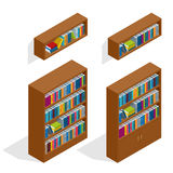 Isometric Bookshelfs set Zdjęcia Royalty Free
