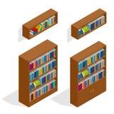 Isometric Bookshelfs set Royalty Free Stock Photos