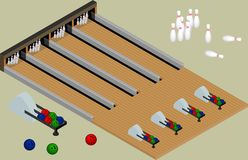 Isometric bowling center. Bowling balls, skittles, lanes isolate Stock Photos