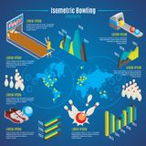 Isometric Bowling Infographic Template royalty free illustration