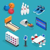 Isometric Bowling realistic icons set with game equipment, cafe tables, shelves for shoes, skittles, and balls isolated. Vector illustration Stock Photography