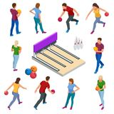 Isometric Bowling realistic icons set with game equipment, cafe tables, shelves for shoes, skittles, and balls isolated. Vector illustration. People, leisure Stock Image