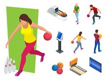 Isometric Bowling realistic icons set with game equipment, cafe tables, shelves for shoes, skittles, and balls isolated. Vector illustration. People, leisure Royalty Free Stock Photo